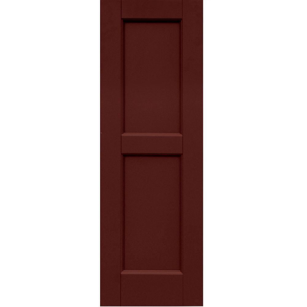 Winworks Wood Composite 12 in. x 36 in. Contemporary Flat Panel Shutters Pair #650 Board & Batten Red