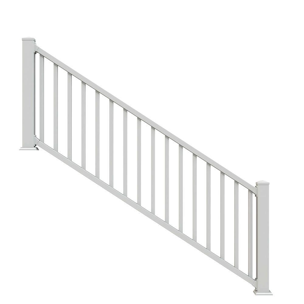 Select White 3 ft. Vinyl Stair Rail Kit with Square Balusters