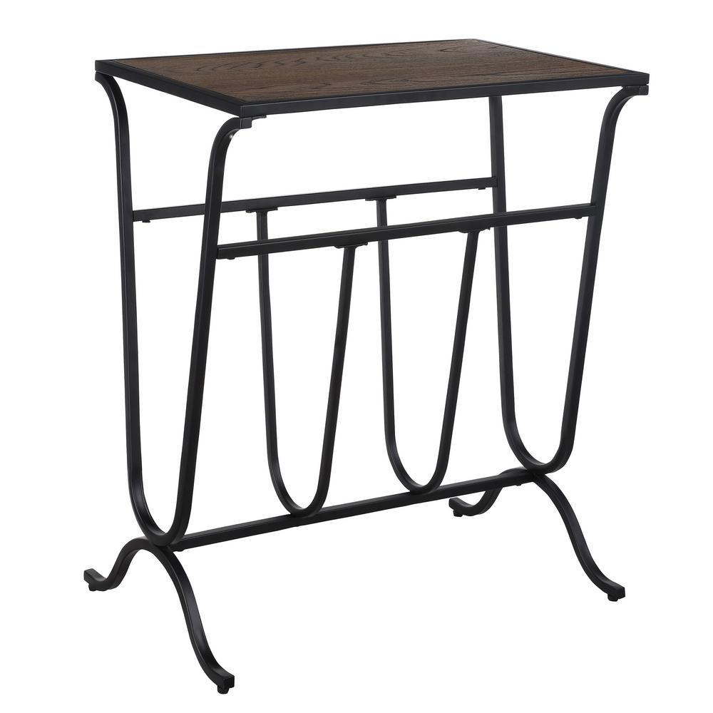 Velio Elm/Black Wood Top Magazine Rack End Table