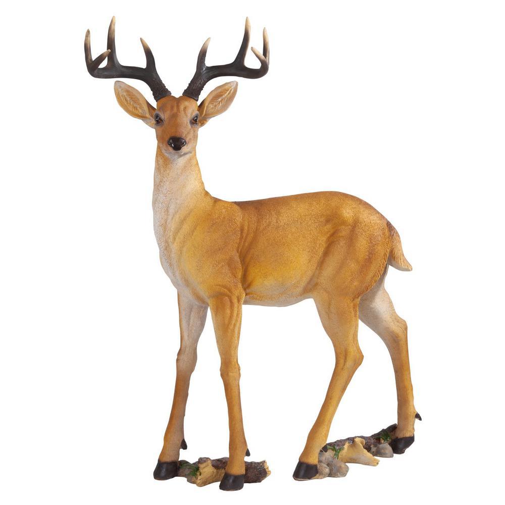 37.5 in. H Woodland Buck Deer Statue