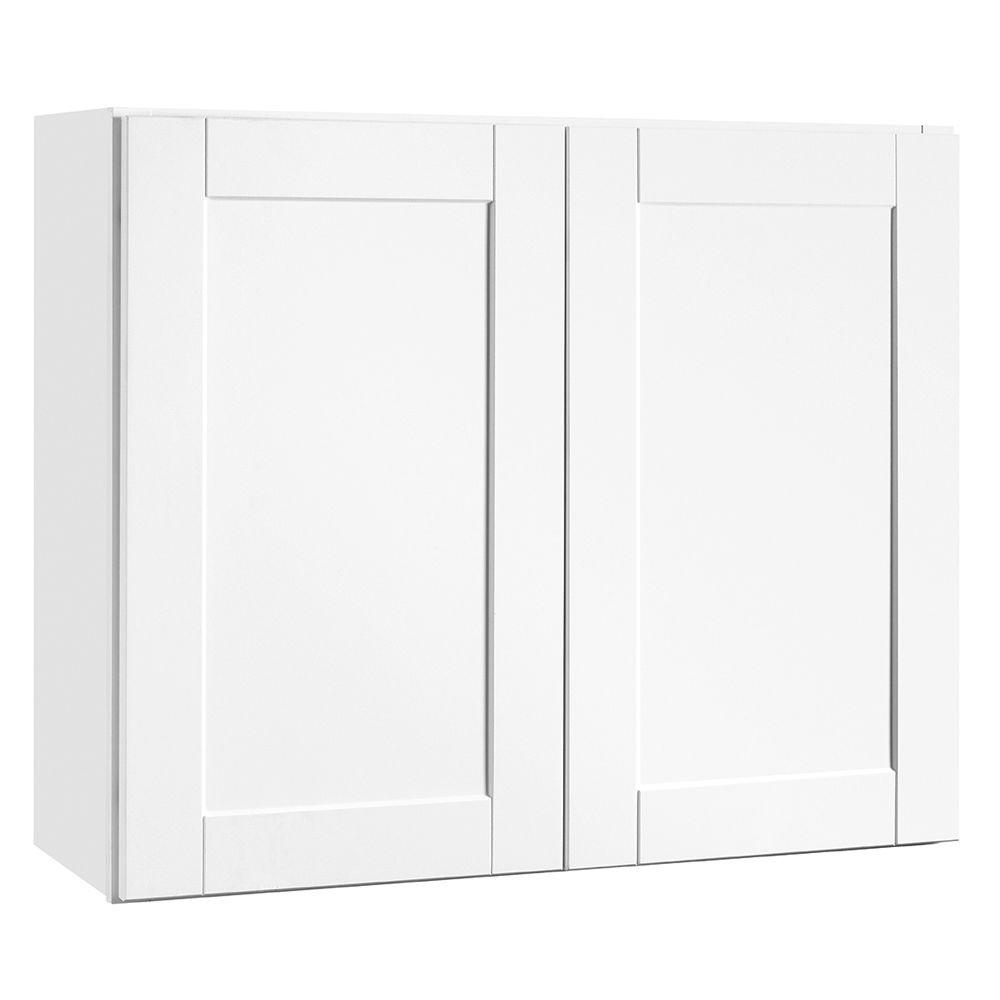 Shaker Assembled 36x30x12 in. Wall Kitchen Cabinet in Satin White