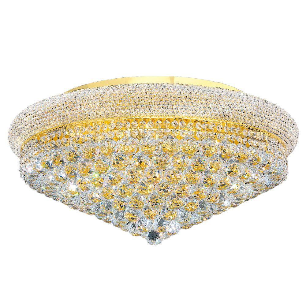 Worldwide Lighting Empire Collection 15-Light Crystal and Gold Ceiling Light