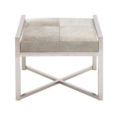 Gray Leather Hide Cushioned Stool