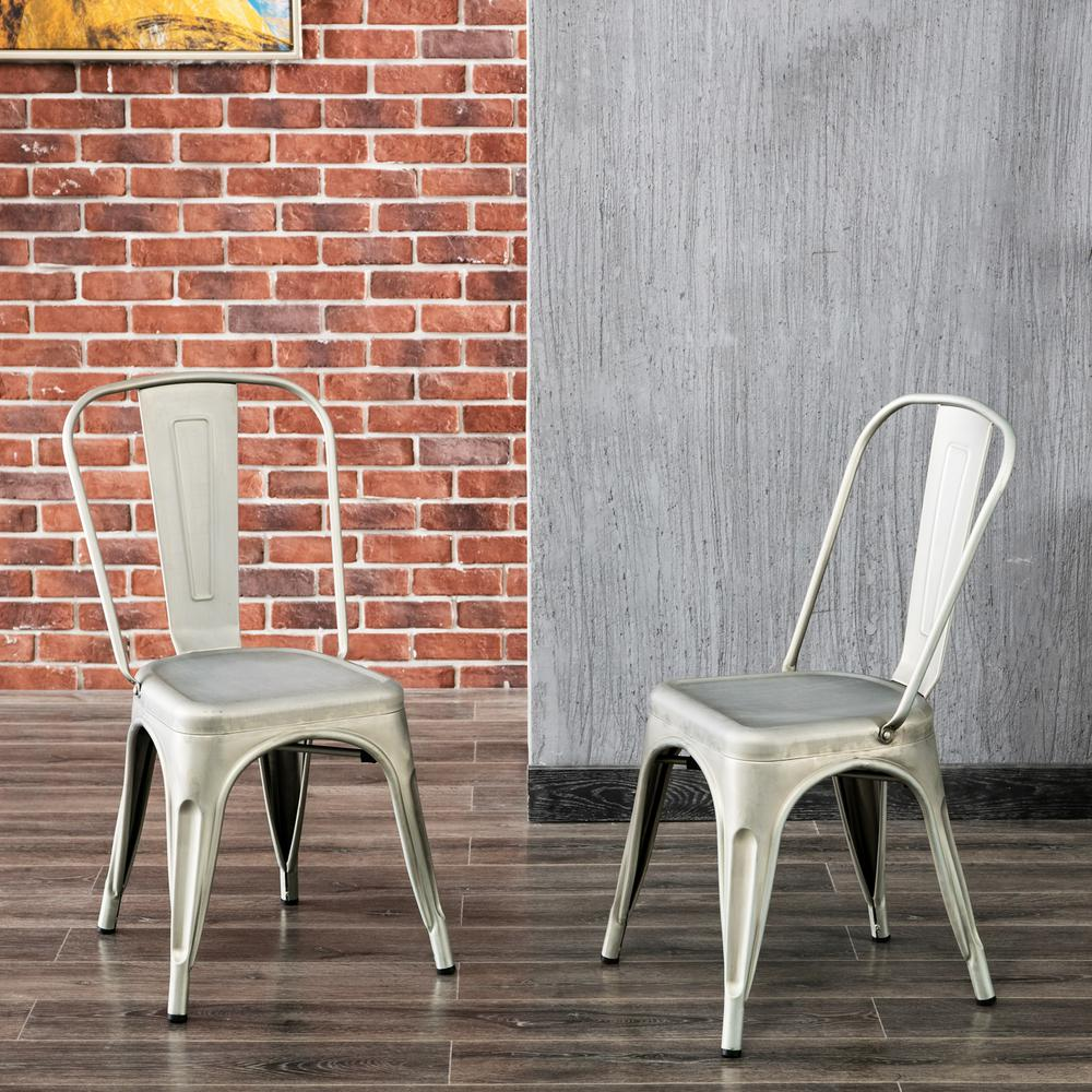 Carolina Forge Adeline Galvanized Metal Stacking Dining Chair (Set Of 2)  TH 1002 GAV   The Home Depot