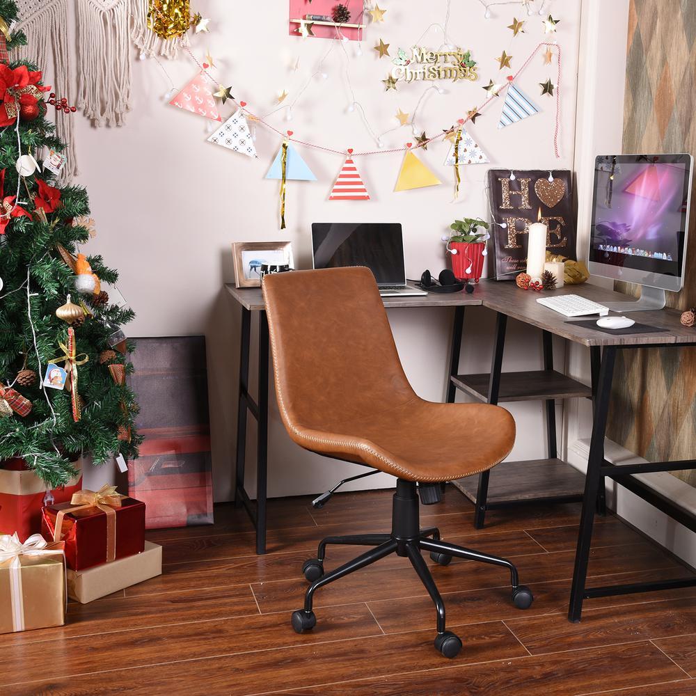 Taison Caramel Faux Leathe Office Chair Task Chair
