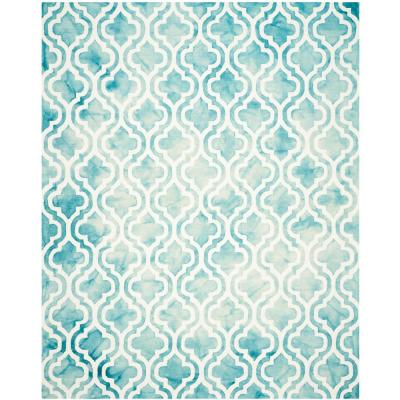 Dip Dye Turquoise/Ivory 8 ft. x 10 ft. Area Rug