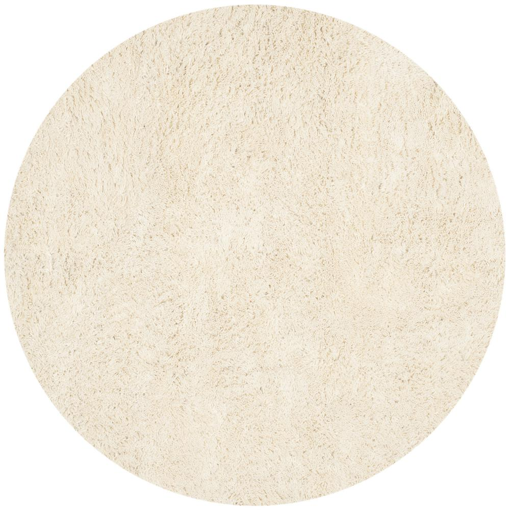 Classic Shag Ultra Ivory 4 ft. x 4 ft. Round Area