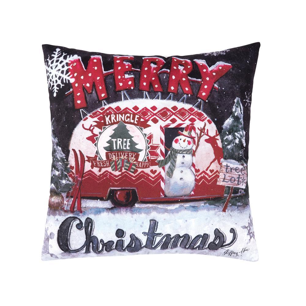 Tree Lot Christmas Indoor/Outdoor Red Standard Pillow