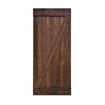 36 in. x 84 in. Z Series DIY Dark Walnut Finished Knotty Pine Wood Interior Barn Door