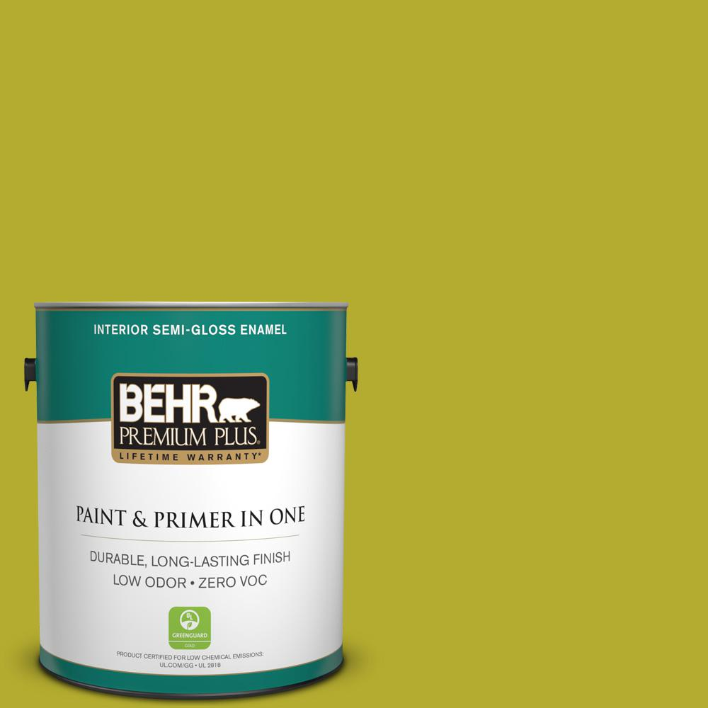 1-gal. #P340-6 Green Neon Semi-Gloss Enamel Interior Paint