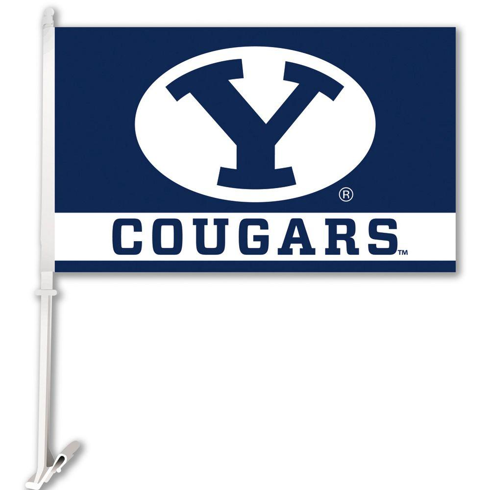 BSI Products NCAA 11 in. x 18 in. Brigham Young 2-Sided Car Flag with 1-1/2 ft. Plastic Flagpole (Set of 2)