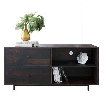 Tora Nutmeg 46 in. TV Stand Media Console with Brown Oak Drawers
