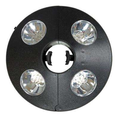 Outdoor Patio Umbrella Lights, 4-Panel Cordless 24 LED in Black