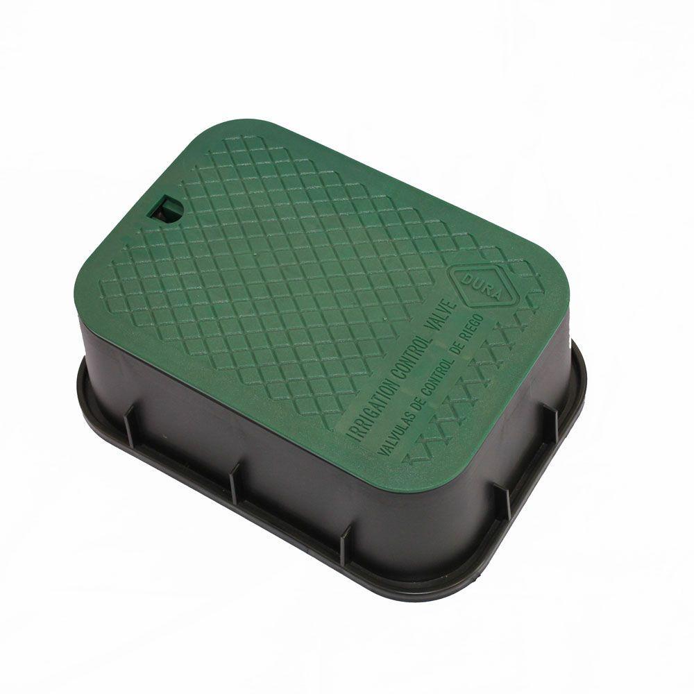 DURA 15 in. x 21 in. x 6 in. Rectangular Valve Box in Black Body Green Lid