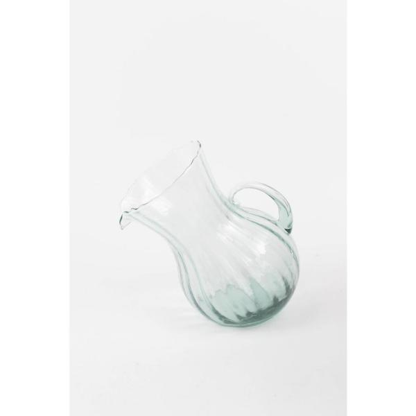 4.8 Qt. Clear Glass Pitcher Tilted with Ribbed Design CV810