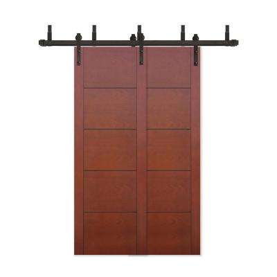 48 in. x 80 in. Bypass Prefinished 5-Panel Flush Mahogany Wood Barn Door with Bronze Sliding Door Hardware Kit