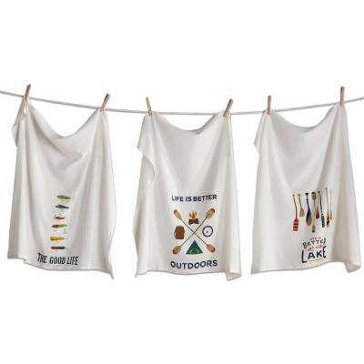 28 in. x 29 in. Multicolored Cotton Outdoors Flour Sack Dishtowel (3-Pack)