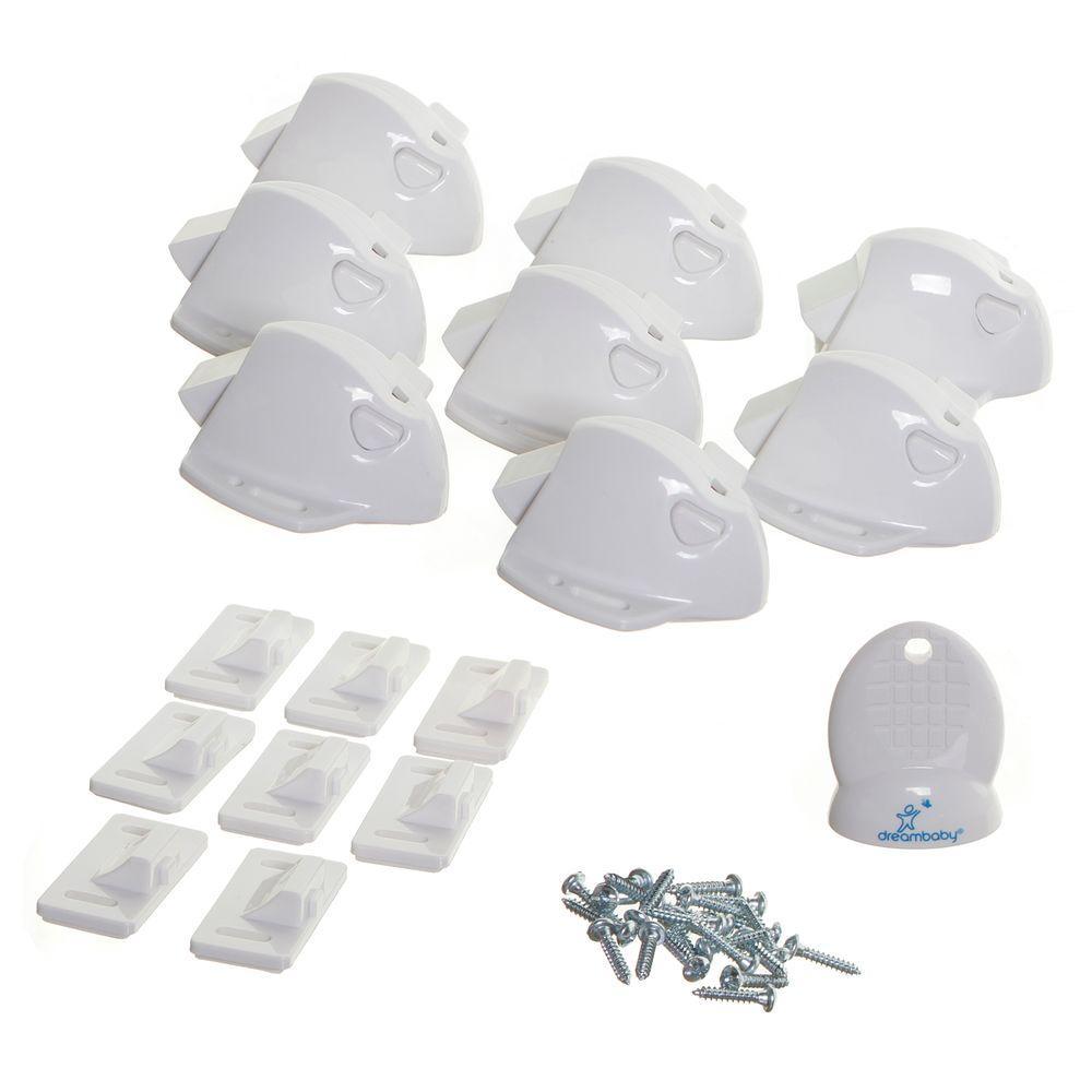 White Mag Locks Adhesive Magnetic Locks (8 Locks, 1 Key)