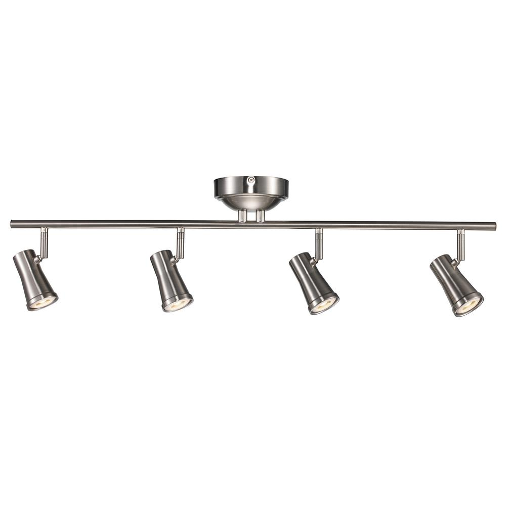 Hampton Bay 4-Light Brushed Nickel LED Dimmable Fixed