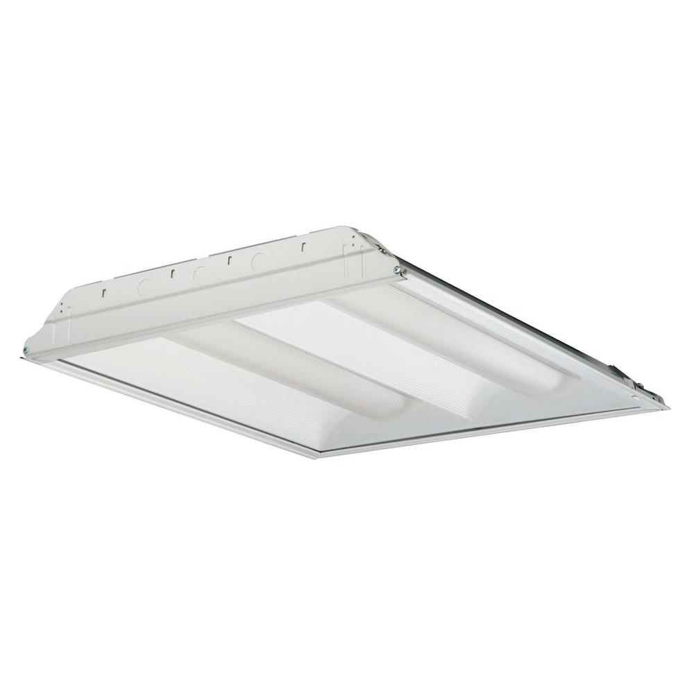 Lithonia lighting 2pm3ngb33218ld 3 light white fluorescent 2rt8s 2 17 mvolt geb10is 2 light white fluorescent architectural troffer arubaitofo Choice Image