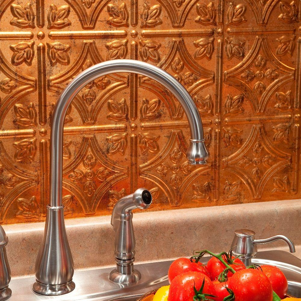 Fasade 24 in. x 18 in. Traditional 1 PVC Decorative Backsplash Panel in Muted Gold