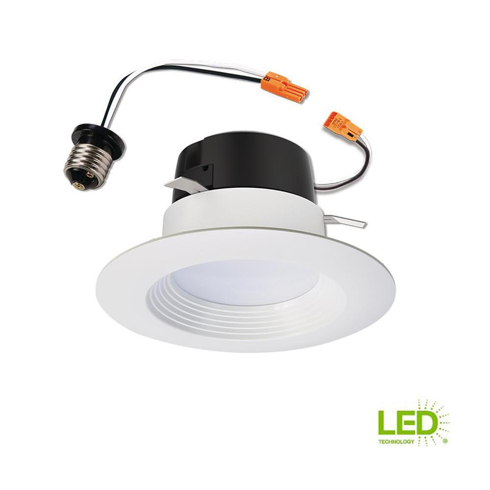 new products ab523 69b8a Halo LT 4 in. White Integrated LED Recessed Ceiling Light Fixture Retrofit  Downlight Trim with 90 CRI, 3000K Soft White