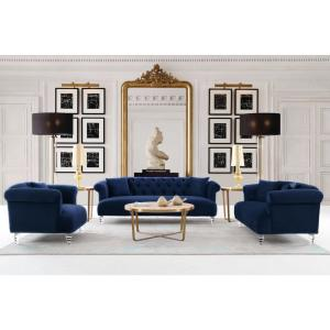 Armen Living Elegance Contemporary Chair in Blue Velvet with ...