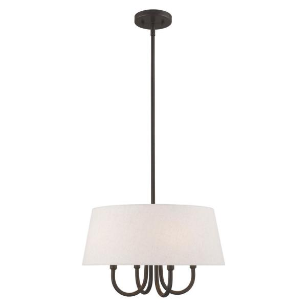 Belclaire 4-Light English Bronze Pendant Chandelier with Oatmeal Hardback Shade