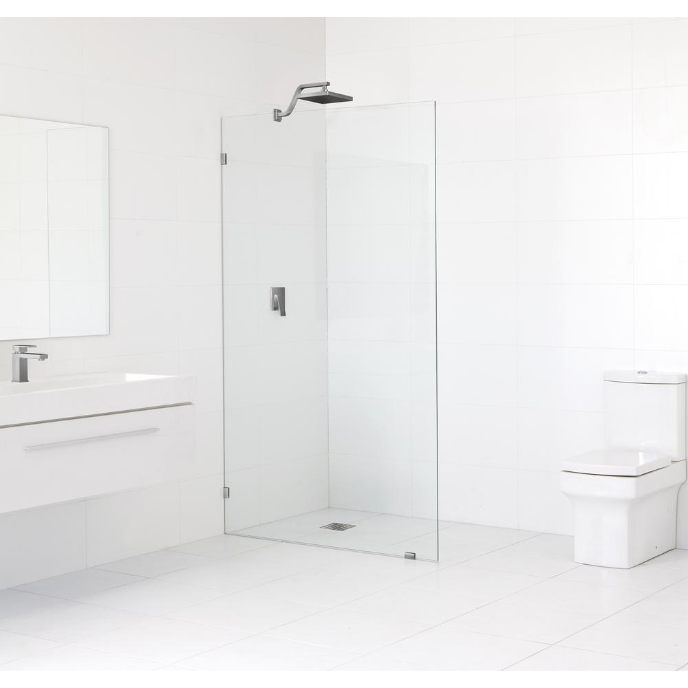 Glass Warehouse 35.5 in. x 78 in. Frameless Fixed Shower Door in Brushed Nickel without Handle