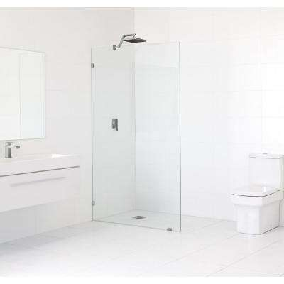 50 in. x 78 in. Frameless Fixed Shower Door in Brushed Nickle without Handle