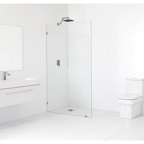 60 in. x 78 in. Frameless Fixed Shower Door in Brushed Nickle without Handle