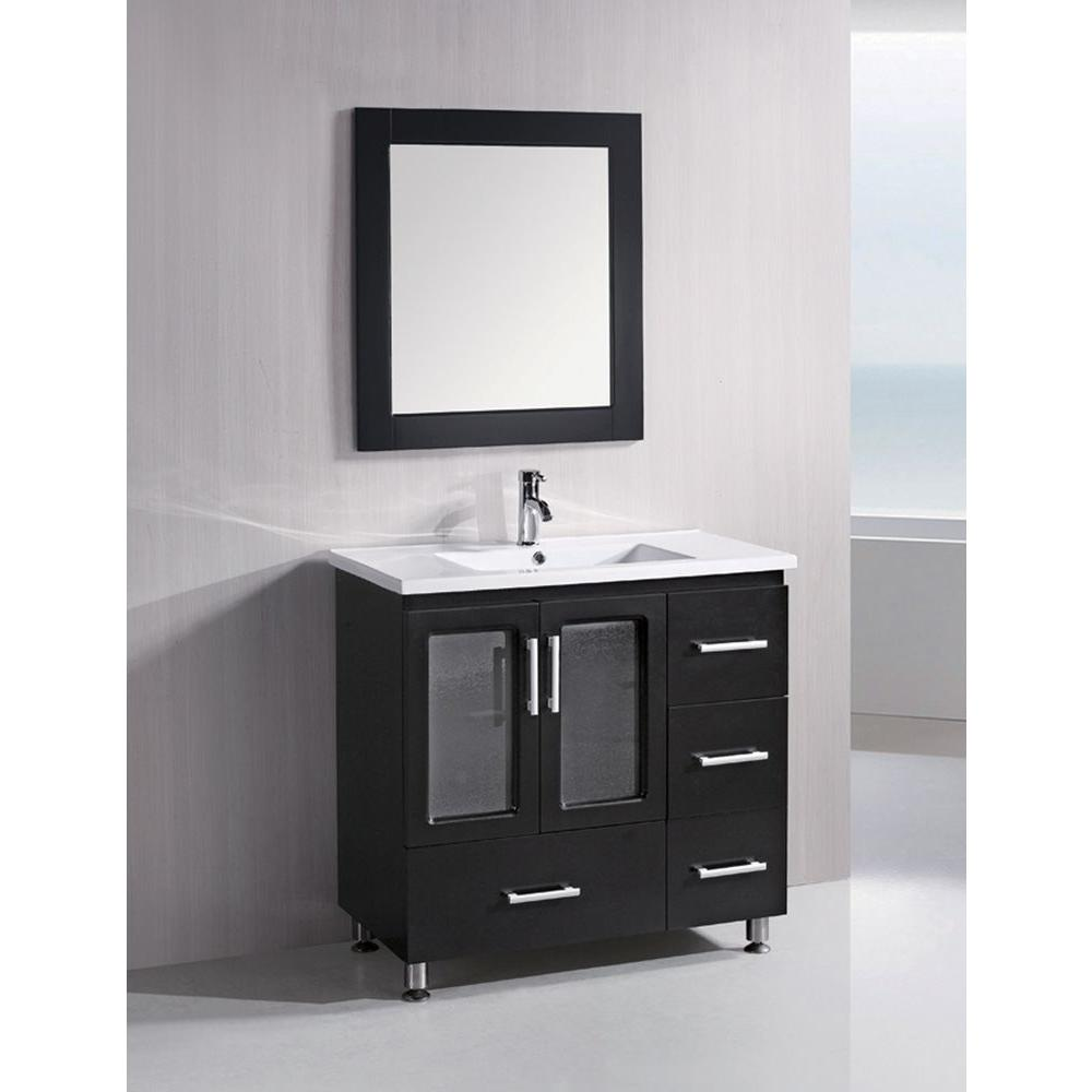 Design Element Stanton 36 in. W x 18 in. D Vanity in Espresso with Single Sink Vanity Top and Mirror