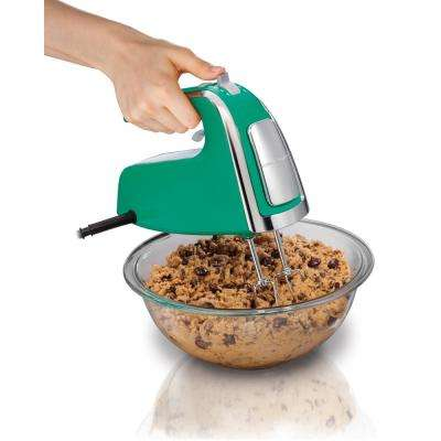 6 Speed Green Hand Mixer with Snap-On Case