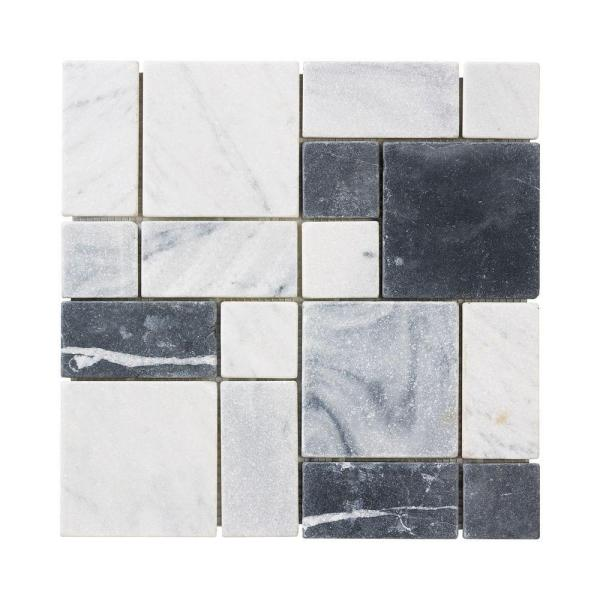 Carrara Block 12 in. x 12 in. x 10 mm Marble Mosaic Floor/Wall Tile