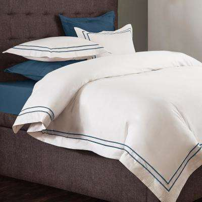Lucas White and Midnight Blue Queen Duvet Set