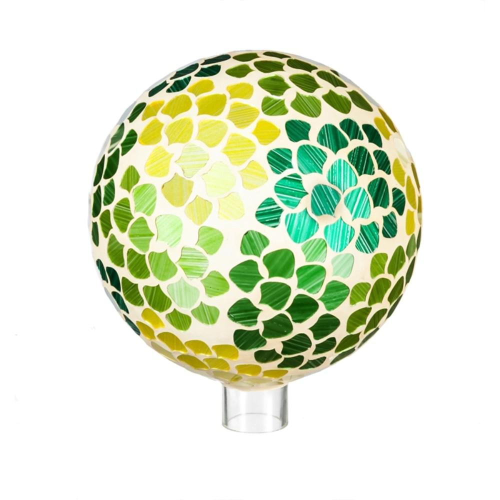 Evergreen Garden 10 in. Natures Vitality Mosaic Gazing Ball This gazing ball will look great in your home or garden. Made of glass, it is safe for indoor or outdoor use. Approximately 10 in. Dia.