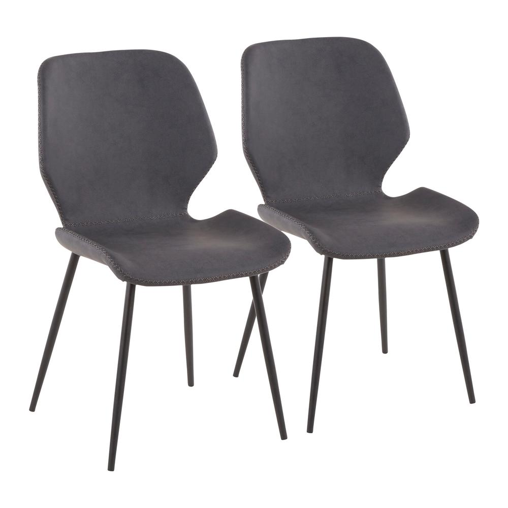Bon Lumisource Black Metal Industrial Serena Chair With Grey Faux Leather (Set  Of 2)