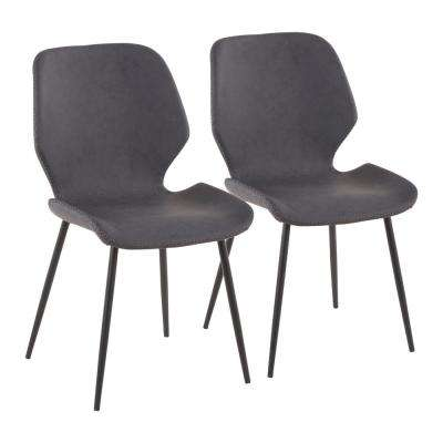 Black Metal Industrial Serena Chair with Grey Faux Leather (Set of 2)