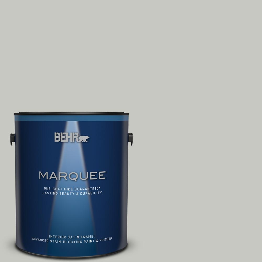 BEHR MARQUEE 1 gal. #MQ2-59 Silver City One-Coat Hide Satin Enamel Interior Paint and Primer in One