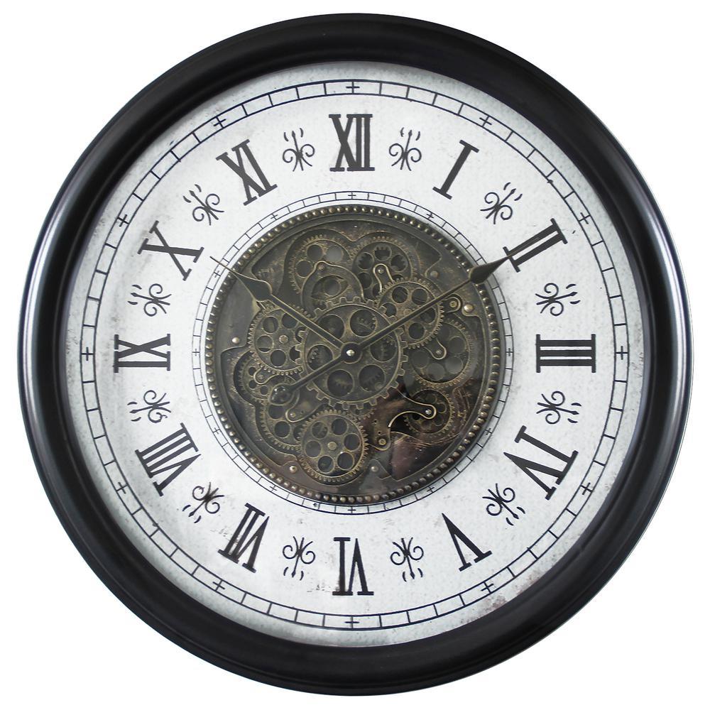 Yosemite Home Decor Clic Chic Clock With Gears Black And White Wall