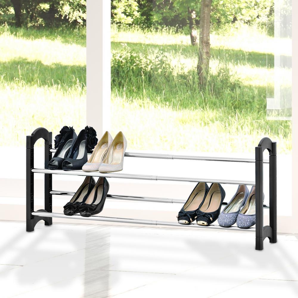 Wayar 2-Tier .Black Extendable and Stackable Shoe Rack