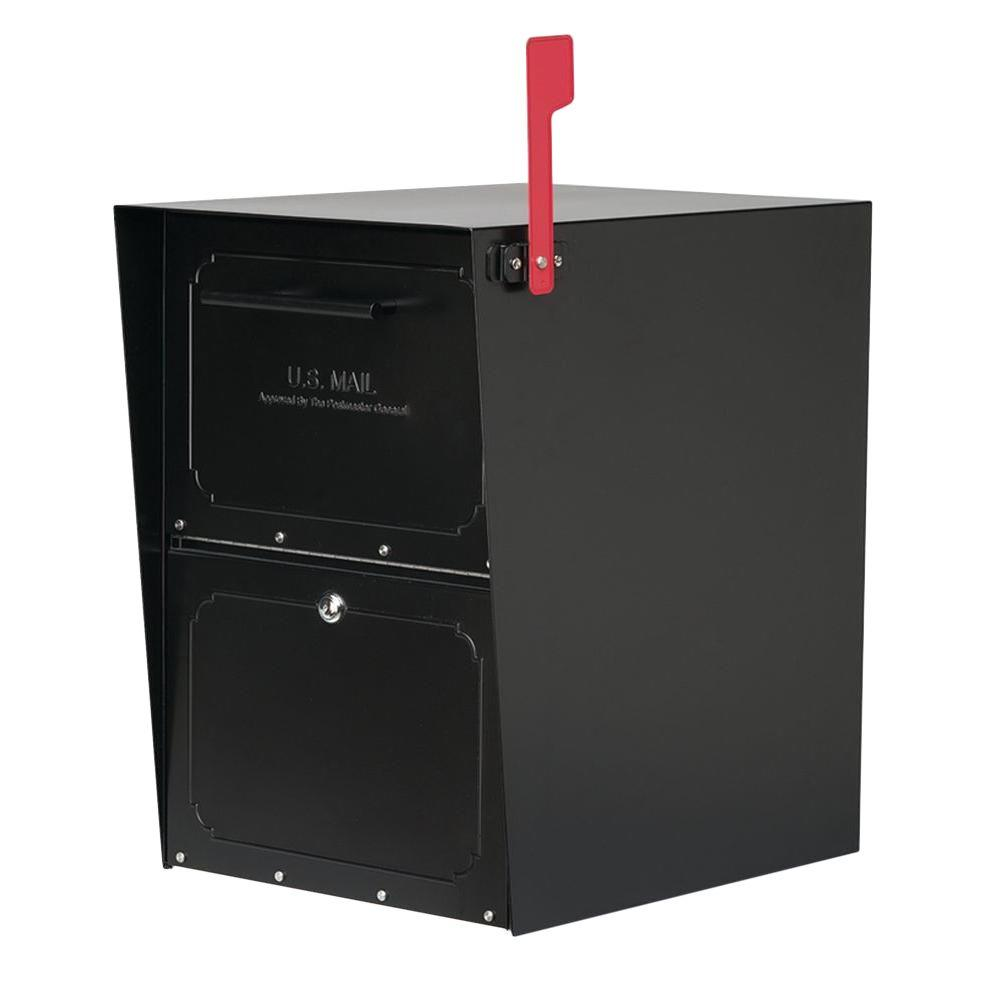 Oasis Post-Mount or Column-Mount Locking Mailbox in Black with Outgoing Mail
