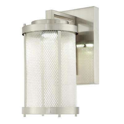 Skyview 1-Light Brushed Nickel Outdoor Integrated LED Wall Mount Lantern