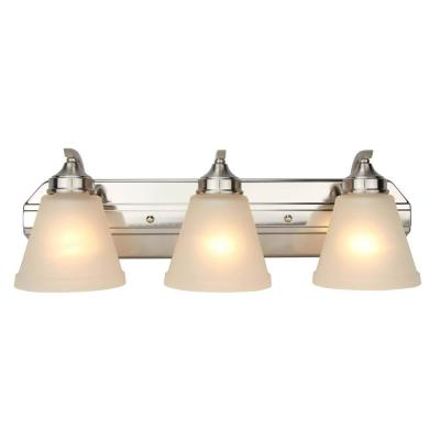 3-Light Brushed Nickel Vanity Light with Frosted Glass Shade
