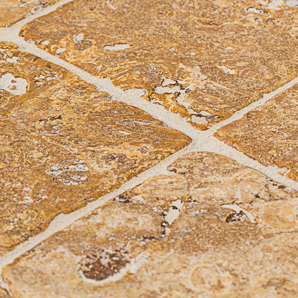 Jeffrey Court Travertino Gold 4 In X 4 In Travertine Floor And