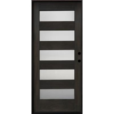 36 in. x 80 in. Ash Left-Hand Inswing 5 Lite Mistlite Decorative Glass Stained Mahogany Wood Prehung Front Door