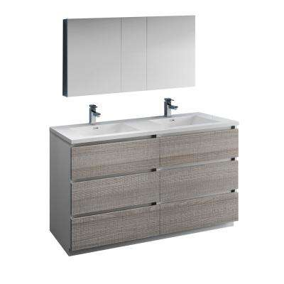 Lazzaro 60 in. Modern Double Bathroom Vanity in Glossy Ash Gray, Vanity Top in White with White Basins,Medicine Cabinet