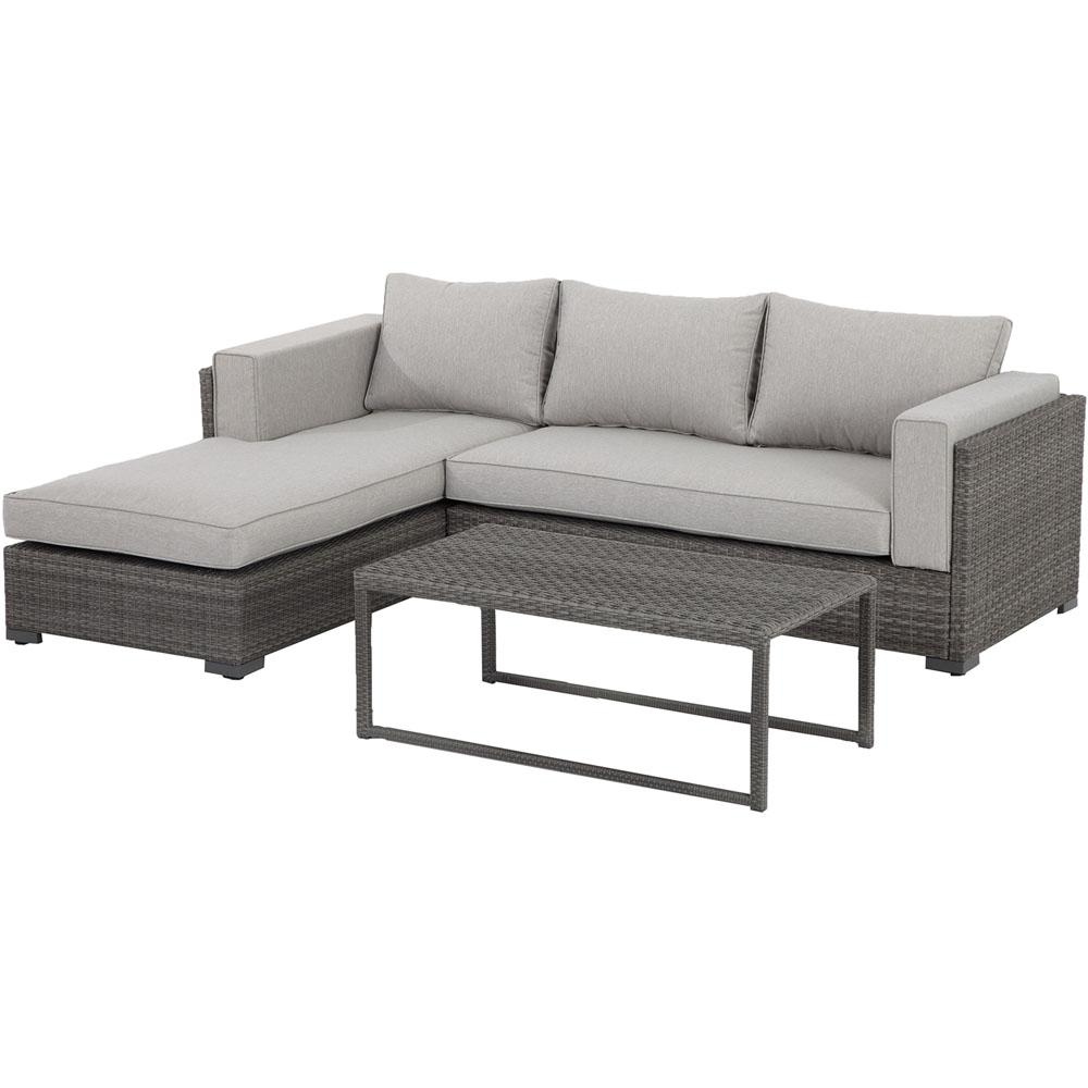 Hanover lenox hill 3 piece wicker outdoor sectional set with gray hanover lenox hill 3 piece wicker outdoor sectional set with gray cushions lenoxhill3pc gry the home depot parisarafo Choice Image