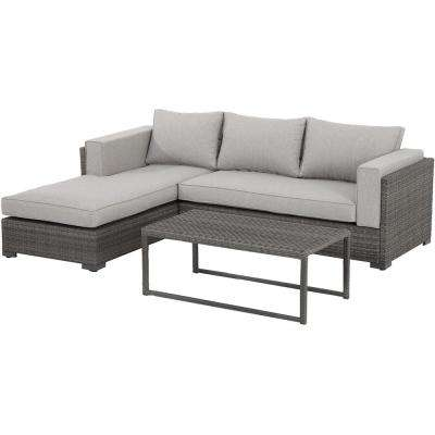 Lenox Hill 3-Piece Wicker Outdoor Sectional Set with Gray Cushions