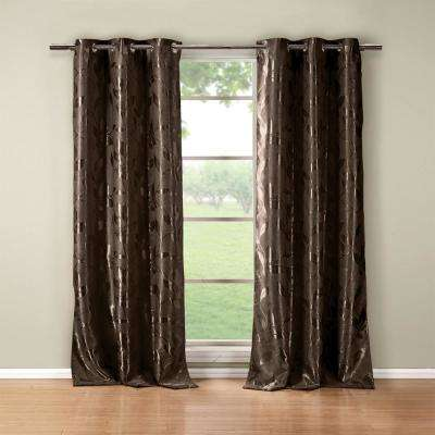 Floral Chocolate Polyester Blackout Grommet Window Curtain 36 in. W x 84 in. L (2-Pack)